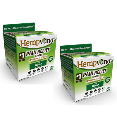 Two units of Hempvana Pain Relief Cream in their packaging which is green and white.