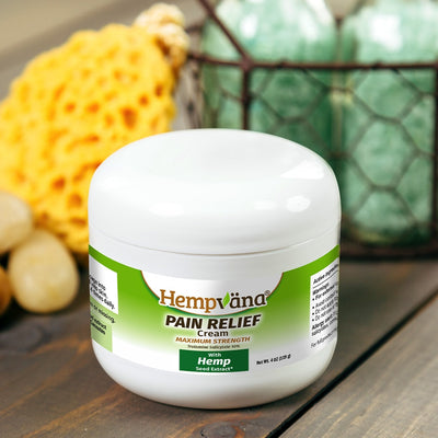 A jar of Hempvana Pain Relief Cream