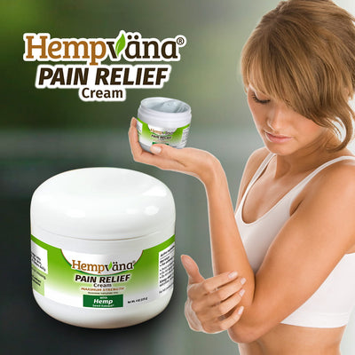 A woman holding a jar of Hempvana Pain Cream with one hand while applying the product to her arm with her other hand, a jar of Hempvana Pain Relief Cream, the logo for Hempvana with the product name