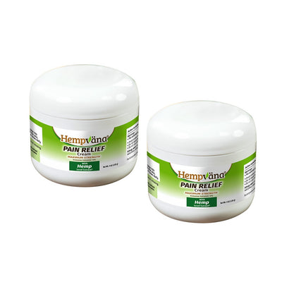 Two jars of Hempvana Pain Relief Cream with a white background