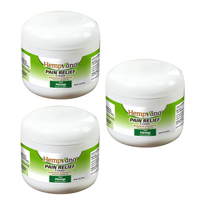 Three jars of Hempvana Pain Relief Cream with a white background