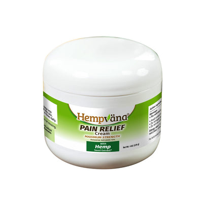 A jar of Hempvana Pain Relief Cream with a white background