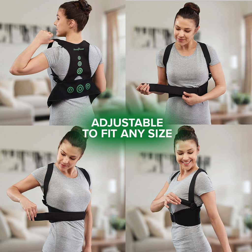 Four photos in a square of a woman putting on Hempvana Arrow Posture, each photo is a different stage of her putting on the product, includes the text