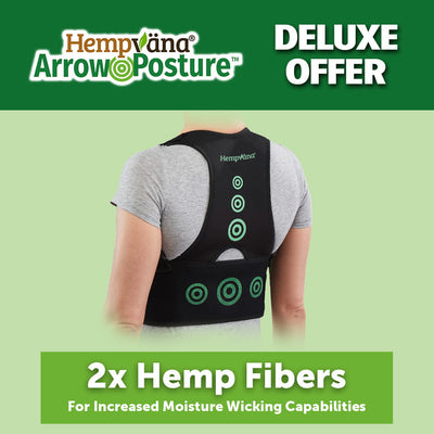 "a woman's back that is wearing Hempvana Arrow Posture, brand logo with product name in top left corner, includes text ""Deluxe Offer"" and  ""2x Hemp Fibers For Increased Moisture Wicking Capabilities"""