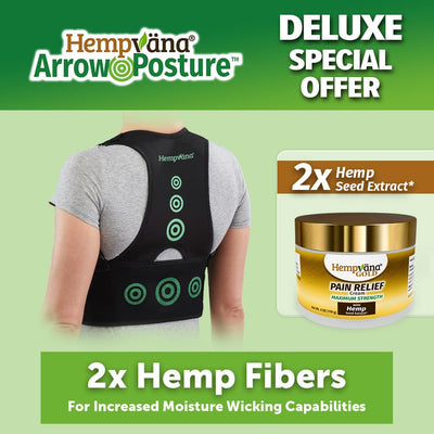 "a woman's back that is wearing Hempvana Arrow Posture, brand logo with product name in top left corner, a jar of Hempvana Gold Pain Relief Cream, includes text ""Deluxe Special Offer"", ""2x Hemp Fibers For Increased Moisture Wicking Capabilities"", and ""2x Hemp Seed Extract"""