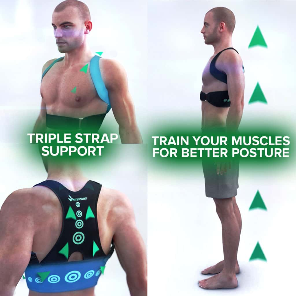 3 different photos of a man in no shirt and shorts wearing Hempvana Arrow Posture, one photo is him from the chest up, one photo his back is to the camera, one photo is a full body photo from the side with four green arrows behind him pointing up, includes the text