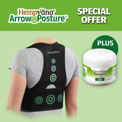 "a woman's back that is wearing Hempvana Arrow Posture, a jar of Hempvana Pain Relief Cream, brand logo with product name in top left corner, includes text ""Special Offer"", ""2x Hemp Fibers For Increased Moisture Wicking Capabilities"", and ""Plus"""