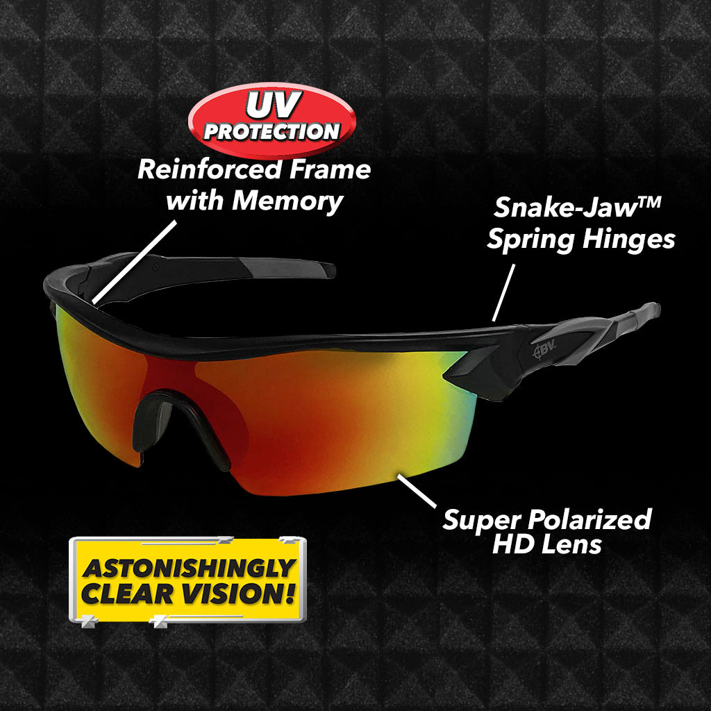 Battle Vision Polarized Sunglasses with labeled info