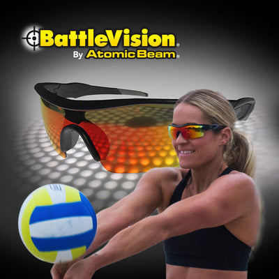 Woman hitting a volleyball using Battle Vision sunglasses