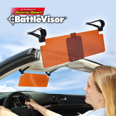 Lady driving in a car using battlevisor and silo of second battlevisor