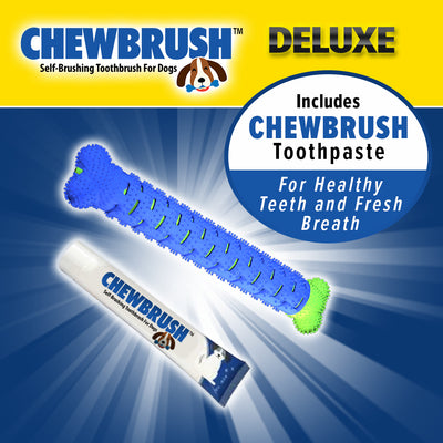 "One Chewbrush, one Chewbrush toothpaste, product name in top left corner, includes text ""Deluxe"", ""Includes Chewbrush Tootpaste For Healthy and Fresh Breath"""