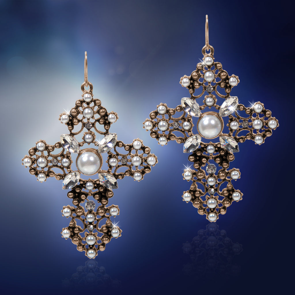 Large Brass Cross Earrings