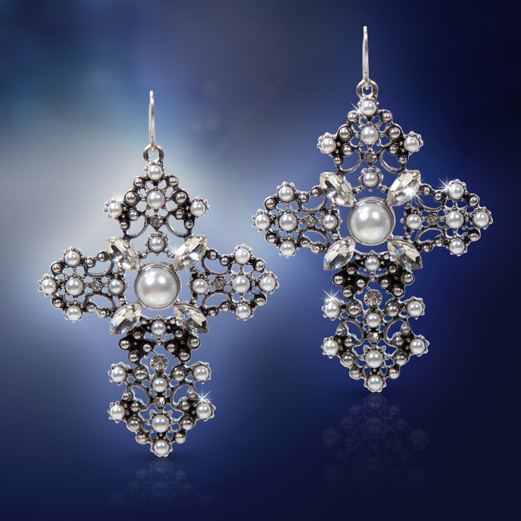 Large Silver Cross Earrings