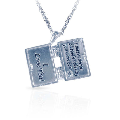 Dear Daughter Silver Envelope Locket Necklace