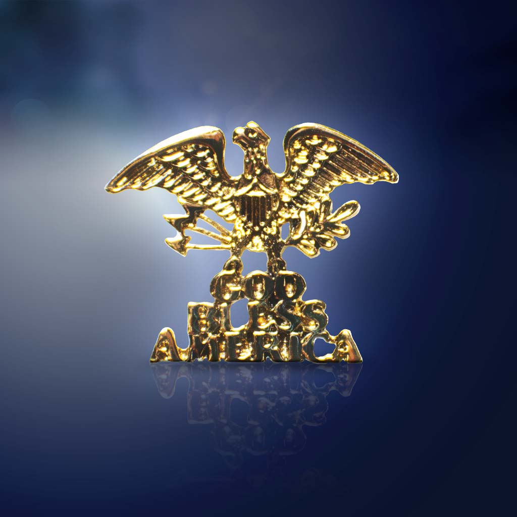 Antique Gold God Bless America Lapel Pin