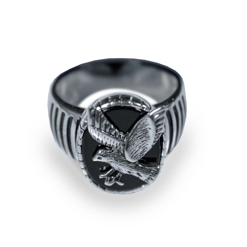 Silvertone Black Onyx Eagle Men's Ring