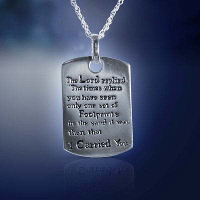 "Silvertone ""Footprints in the Sand"" Dog Tag Necklace"