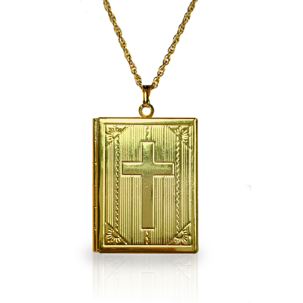 Goldtone Book Locket Necklace