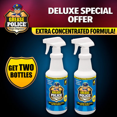 "2 bottles of Grease Police, Includes text ""Deluxe Special Offer"", ""Extra Concentrated Bottles"", brand logo and product name in top left corner, includes text ""Get Two Bottles"" inside the shape of a police badge"