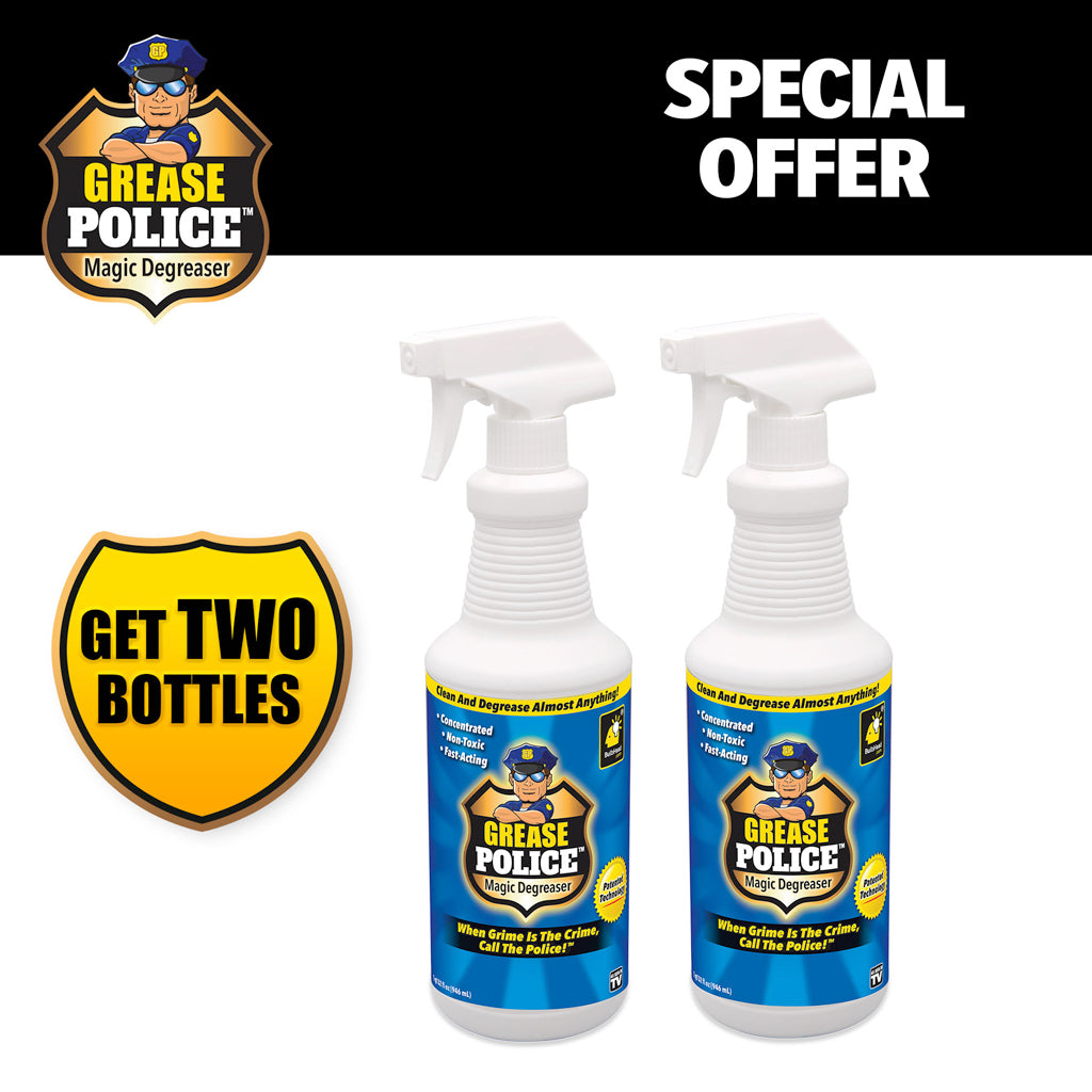 brand logo and product name in top left corner, two bottles of Grease Police, includes text
