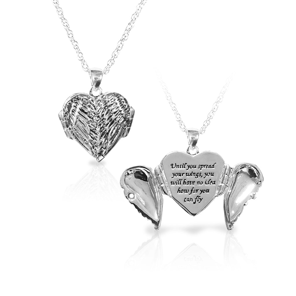 Silvertone Winged Heart Locket Necklace