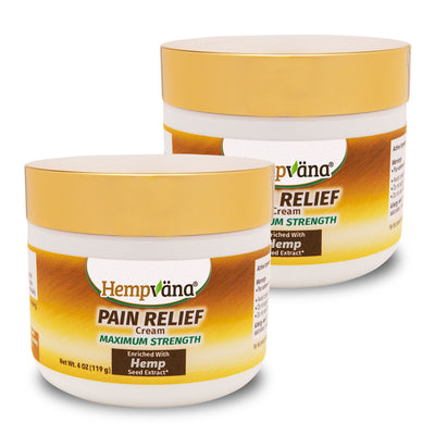 Two jars of Hempvana Gold Pain Relief Cream