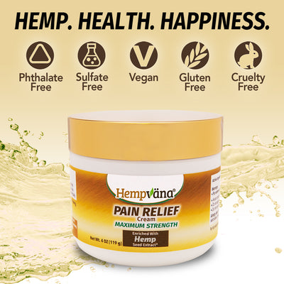 "A jar of Hempvana Gold Pain Relief Cream, Includes text ""Hemp. Health. Happiness."", ""Phthalate Free"", ""Sulfate Free"", ""Vegan"", Gluten Free"", ""Cruelty Free"""