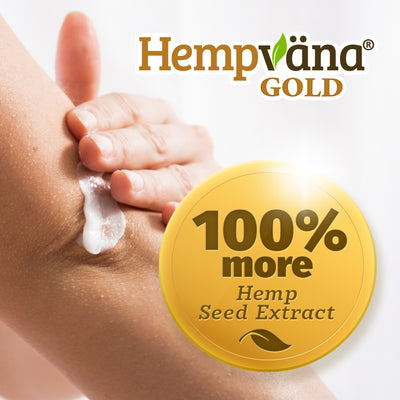 "someone applying the product to their arm, brand logo with product name, includes texts in a gold circle that says ""100% more hemp seed extract"""