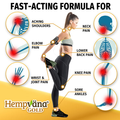 "A fully body shot of a woman from the side in athletic clothes, she is holding her right foot and stretching her right leg back, white dots with a gold outline on different parts of her body, 7 photos of different skeletal body parts with a red dot in each photo, includes text ""Fast-Acting Formula For"", ""Aching Shoulders"", ""Neck Pain"", ""Elbow Pain"", ""Lower Back Pain"", ""Wrist & Joint Pain"", ""Knee Pain"", and ""Sore Ankles"", brand logo with product name in bottom left corner"