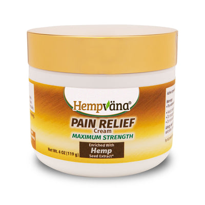 A jar of Hempvana Gold Pain Relief Cream