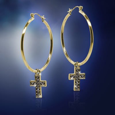 Gold Cross Hoop Earrings