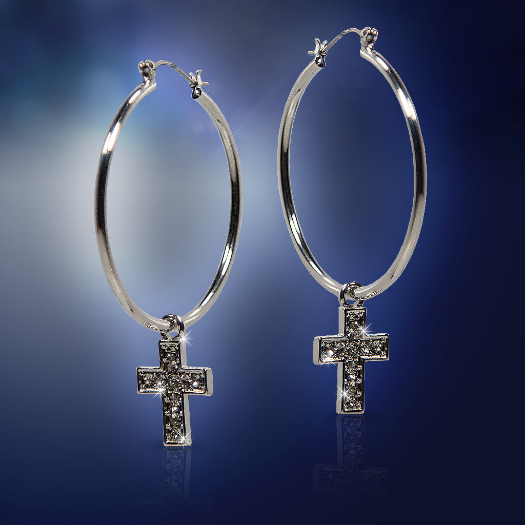 Silver Cross Hoop Earrings