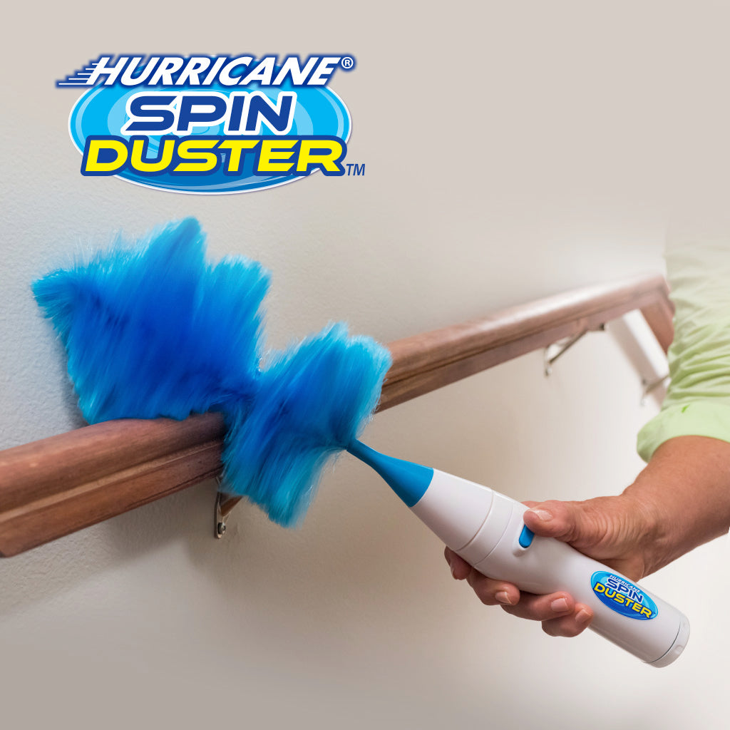 Hurricane Spin Duster Motorized Dust Wand used on railing