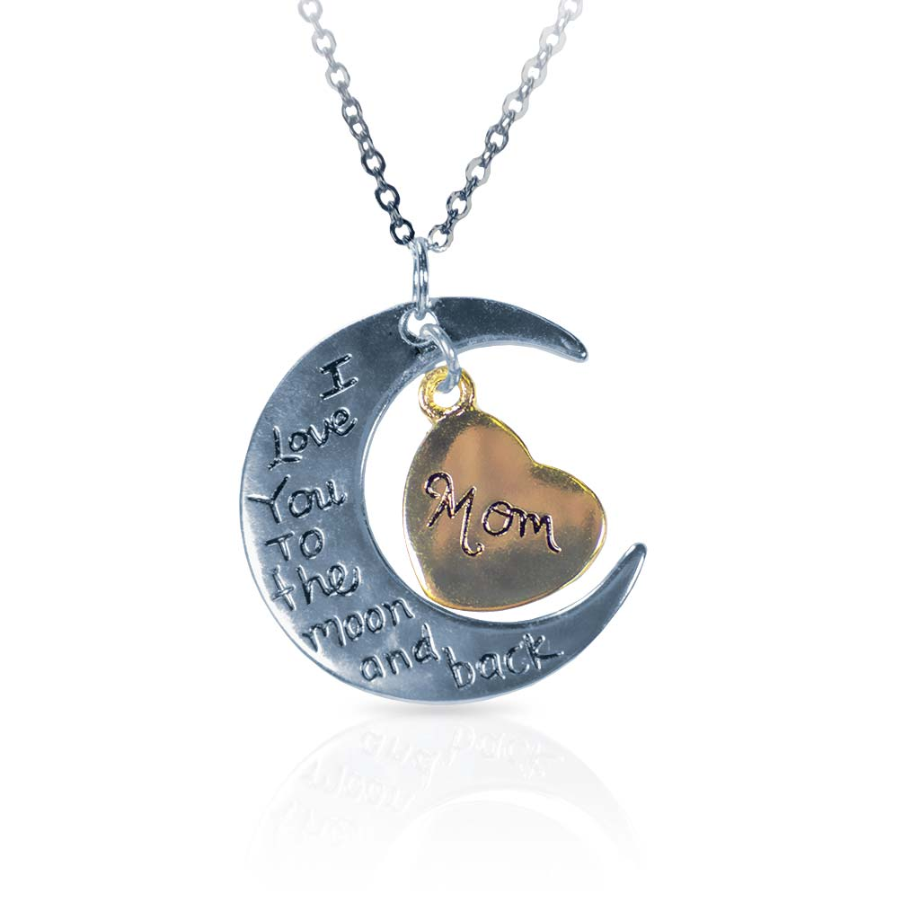 I Love You Mom Silver Moon Necklace