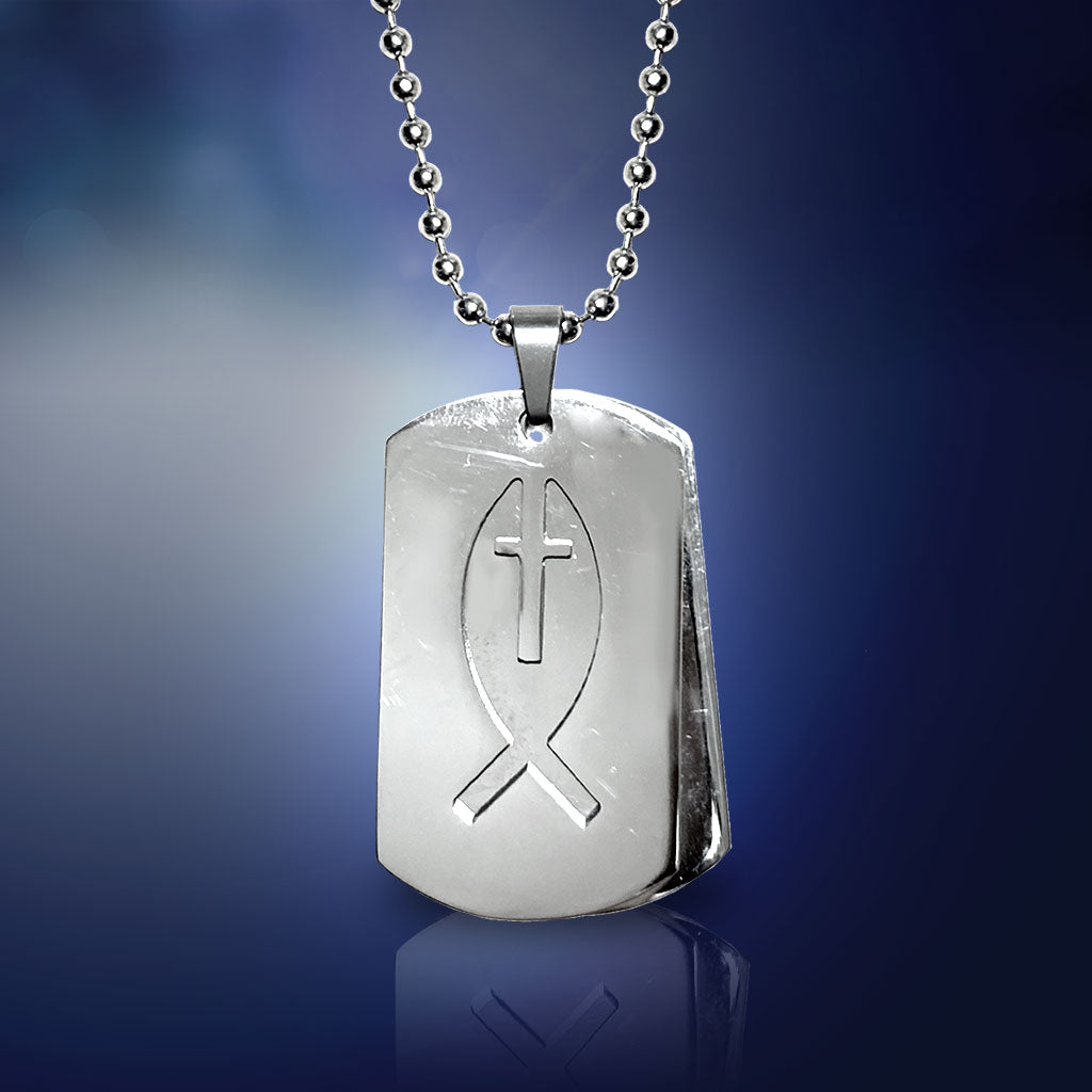Ichthus Stainless Steel Dog Tag Necklace