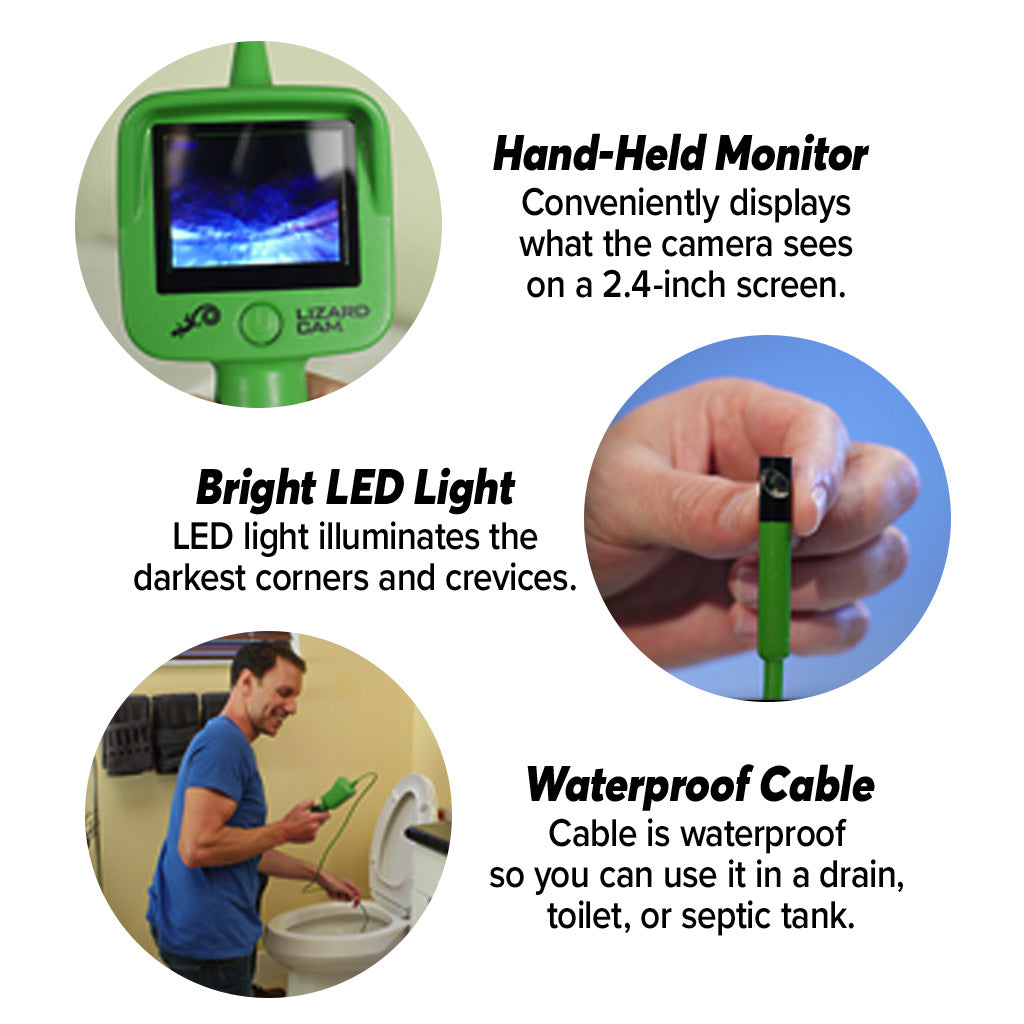 Lizard Cam, handheld monitor, bright LED light and waterproof cable