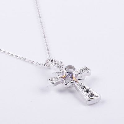 Lord's Prayer Magnifier Cross Necklace