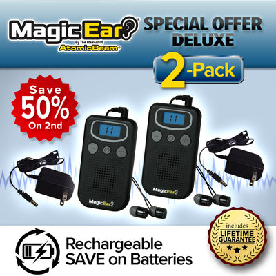 Deluxe Atomic Ear 2-Pack, rechargeable, save 50% on the 2nd