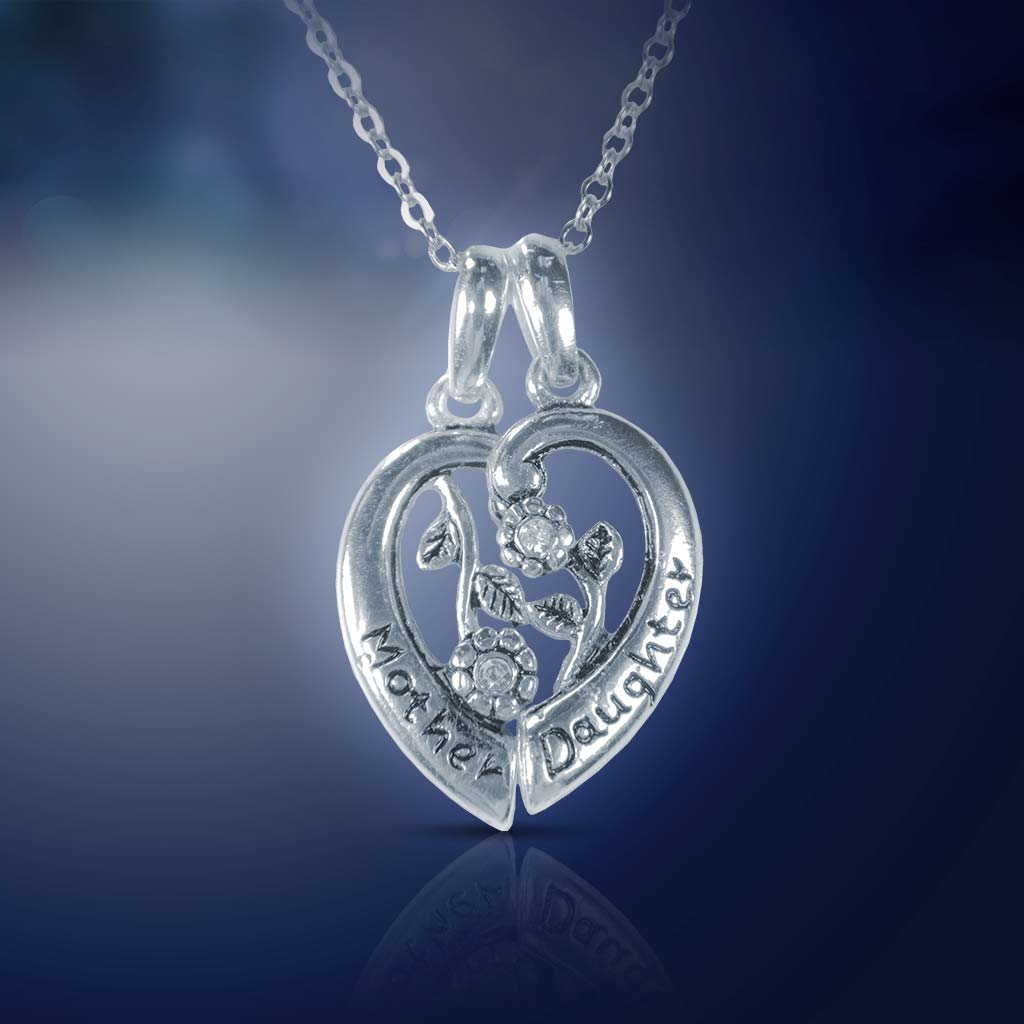 Silver Heart Mother/Daughter Necklace