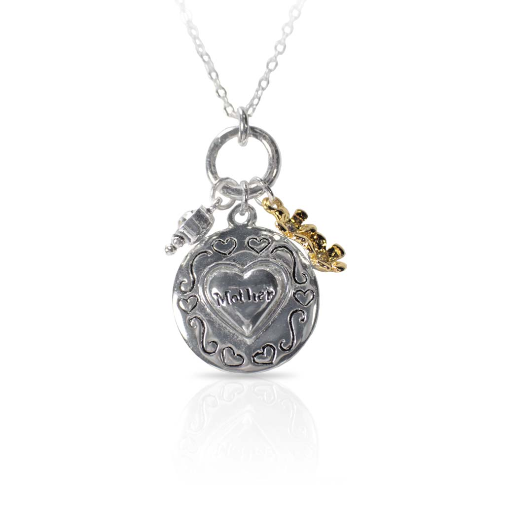 Mother's Heart Silver Necklace