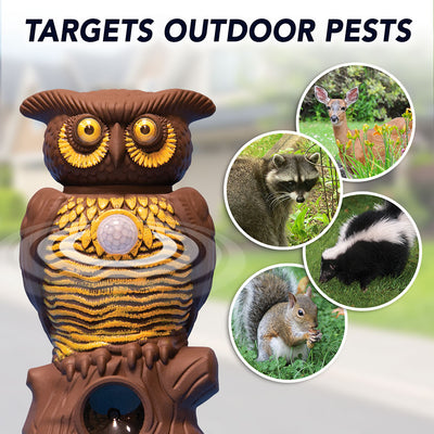 Owl Alert targets outdoor pests such as deer, raccoons, skunks and squirrels.