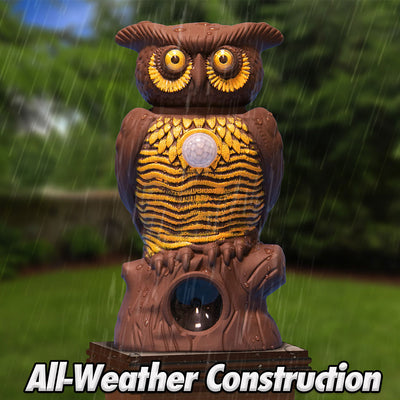 Owl Alert statue in the rain, all weather construction