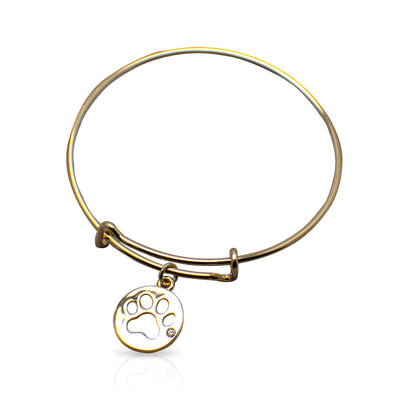 Goldtone Paw Print Bangle Bracelet