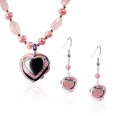 Rose Quartz Heart Earrings and Necklace Set