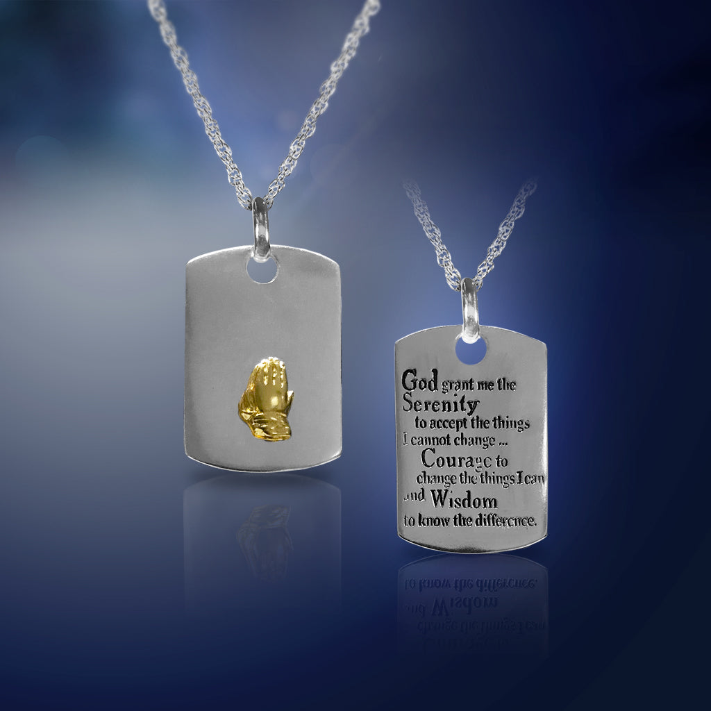 Silvertone Serenity Prayer Dog Tag Necklace