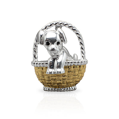 Puppy In a Basket Brooch Pin