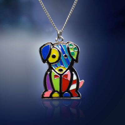 Picasso-esque Dog Pendant Necklace