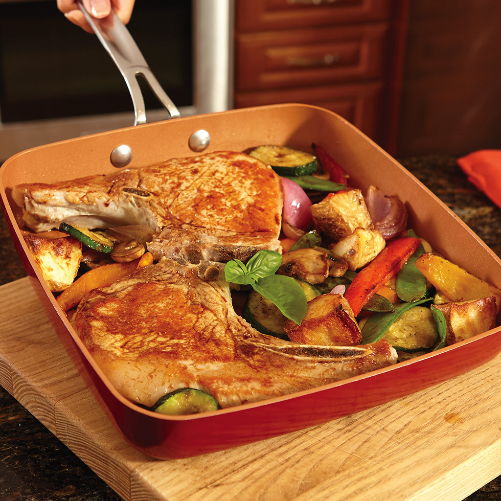 Red Copper Square Dance Frying Pan Bulbhead