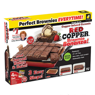 Deluxe Red Copper Brownie Bonanza Pan 2-Pack