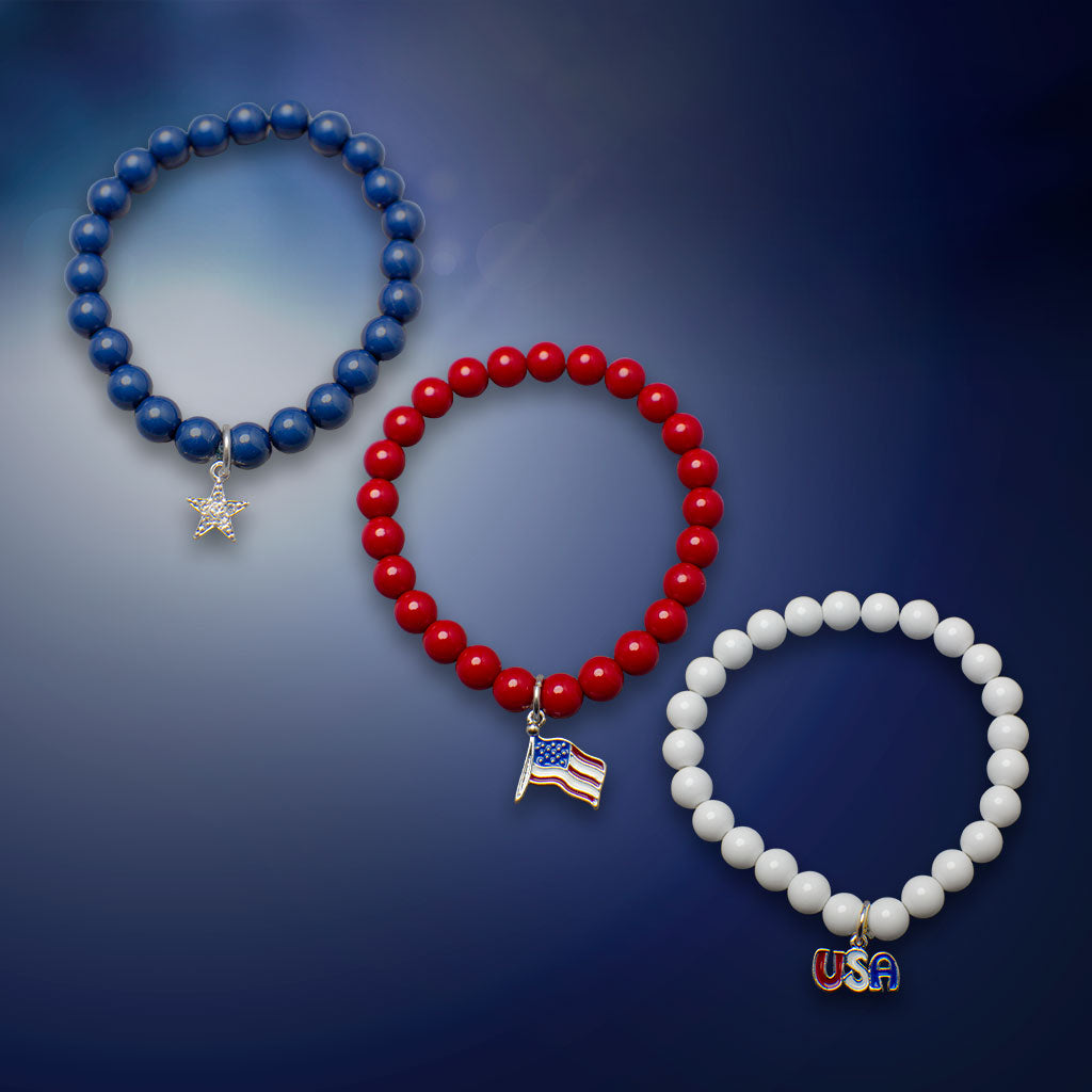 Red, White, and Blue Beaded Bracelet Trio